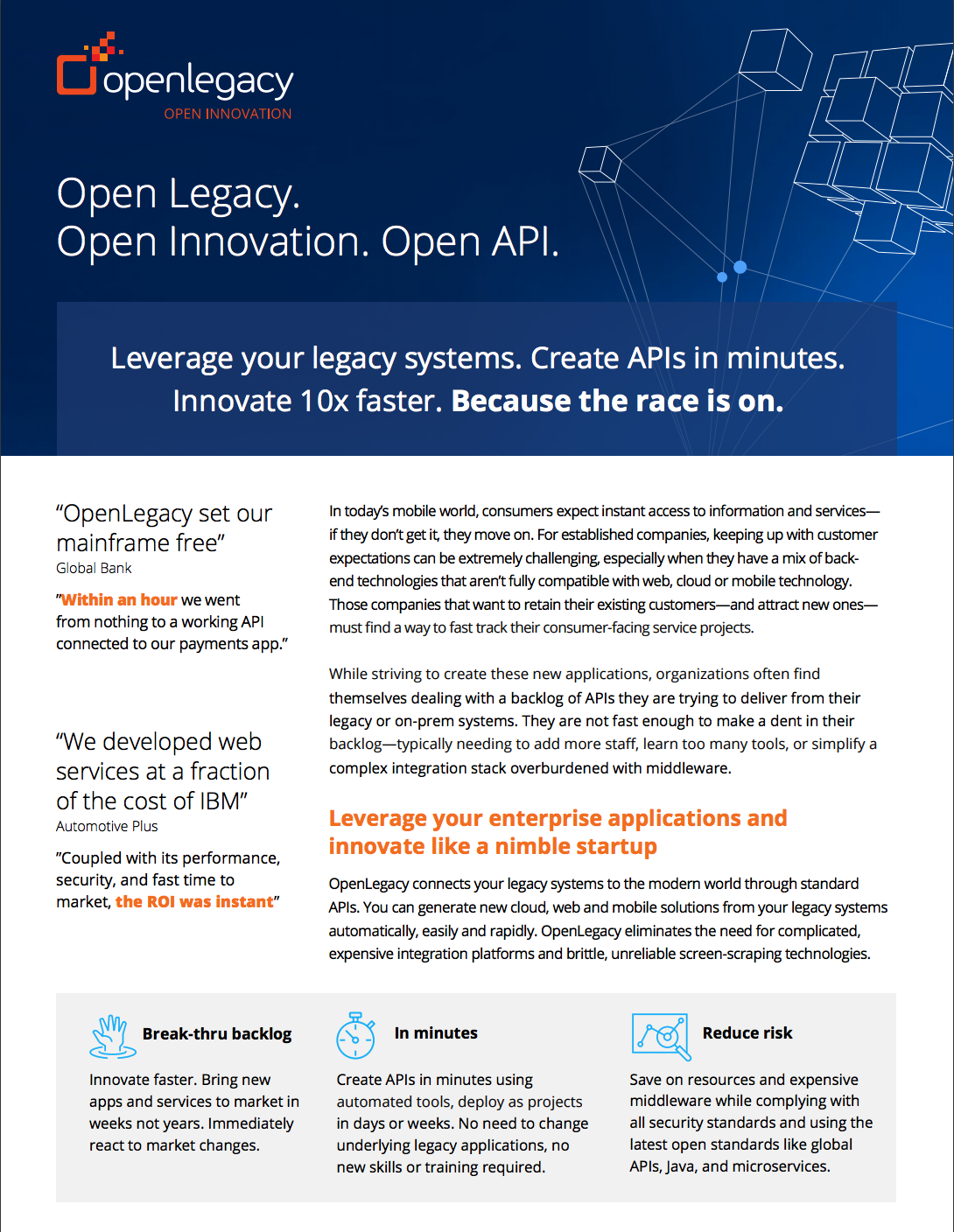 OpenLegacy Overview: Leverage your legacy systems. Create APIs in minutes. Innovate 10x faster.